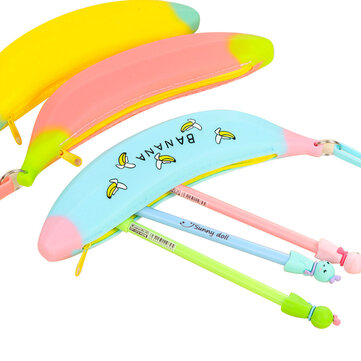 WAM PC-10 Mini Silicone Pencil Case Banana Plastic Pencil Bags Kids Girl Pen Bag Zipper Coin Pocket