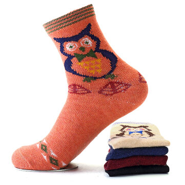 Men Women Owl Pattern Warm Soft Socks