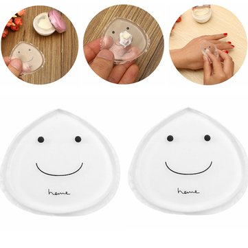 2pcs Silicone Jelly Transparent Powder Puff Smile Clear Makeup Gel Foundation Sponge Cosmetic Tools