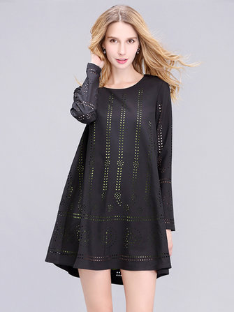 Casual Women Elegant Chiffon Hollow Long Sleeve Dress