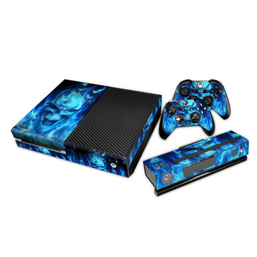 Designer Skin Sticker for Xbox One Console and 2 Controller Decal Blue Skull