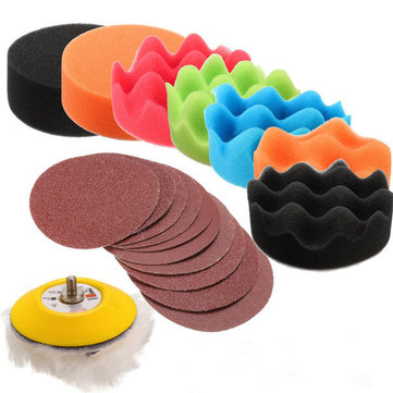 Drillpro 19pcs 3 Inch Sponge Pads with 60-240 Grit Sandpaper Polishing Tool