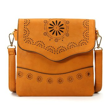 Women Vintage Hollow Out Crossbody Bags Flower Carved Shoulder Bags Messenger Bags