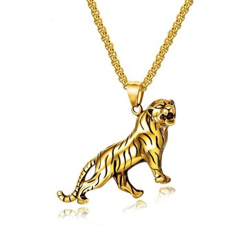 Personality Domineering Gold Silver Men's Chain Necklace Tiger Titanium Steel Pendant