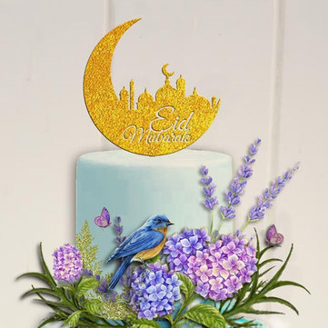 Eid Mubarak Ramadan Wedding Birthday Cake Topper Muslim Islam Glitter Hajj Decor Cake Decorations Set Baking Tools