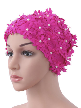 Waterproof Cute Pure Color Double Flowers Pearl Handmade Solf Elastic Women Swimming Cap