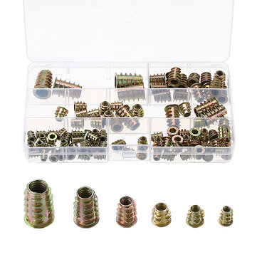 100Pcs M4 to M10 Color Zinc Alloy Wood Furniture Hex Socket Drive Threaded Insert Nut Bolt Fastener
