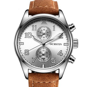 OCHSTIN GQ043A Fashion Men Quartz Watch Luxury Large Number Display Leather Straps Sport Watch