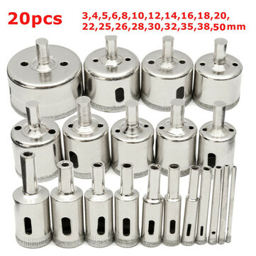 20Pcs Diamond Coated Core Drill Bit Set 3-50mm Hole Saw Cutter for Glass Marble Granite