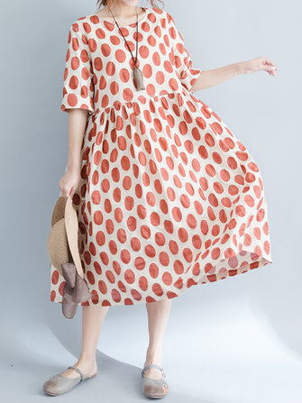 Casual Women Polka Dots High Waist Loose Vintage Dress