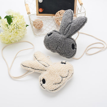 Kindergarten Kids Bags Cartoon Rabbit Soft Plush Crossbody Bag for 1-6 Years Old Girls