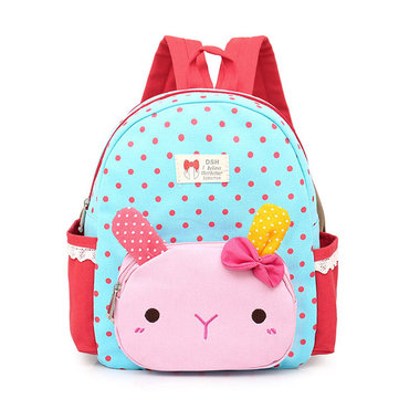 Lovely Kindergarten Kid Rabbit Cartoon Backpack Canvas Light School Bag