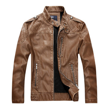 Men Fleece Epaulet Zipper Pockets Motorcycle Faux Leather Jacket