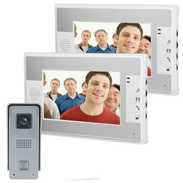 ENNIO SY813ML12 7Inch Video Door Phone Doorbell Intercom Kit with Night Vision Camera and 2 Monitors