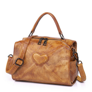 Brenice Women Heart Embossing Elegant Genuine Leather Shoulder Crossbody Bag Handbag