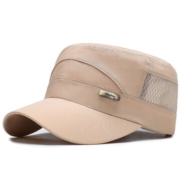 Mens Summer Solid Hollow Out Patchwork Military Cadet Hat Outdoor Adjustable Flat Top Cap