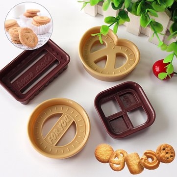 4PCs Plastic Cookie Cutter Mold Biscuit Cutter Circle Square Rectangle Heart Shape Cookie Tool