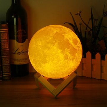 15% OFF For 12cm Magical Two Tone Moon Table Lamp USB Rechargeable Luna LED Night Light
