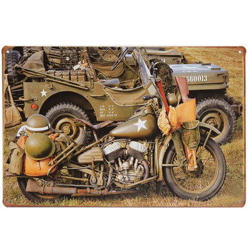 20x30cm US Army World War II Military Motorcycle Sheet Metal Drawing Sign Metal Wall Decorations