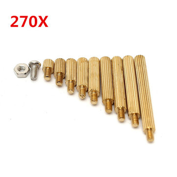 Suleve™ M2BT1 M2 Male-Female Brass Round Thread Column Standoffs Spacer Pillar For PCB Board 270pcs