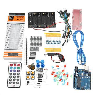 28 Kinds UNO R3 Basics Breadboard Buzzer Sensor LED Element Kit For Arduino