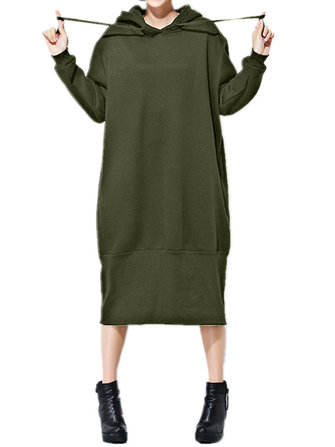 Solid Color Hooded Sweatshirt Dress