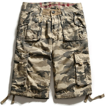 Camuflaje Big Multi Pocket Summer Loose Cotton Carga Pantalones cortos Talla 30-40