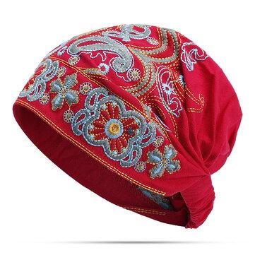 หมวกผู้หญิงสีน้ำเงินหมวก Beanie Caps ชาติพันธุ์เย็บปักถักร้อยดอกไม้ผ้าฝ้ายหมวก Skullcap ฝ้าย