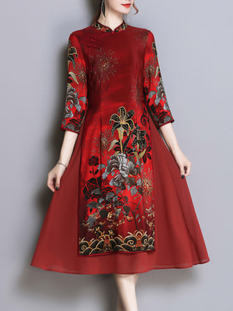 Folk Style Floral Printed Plate Buckle Stand Collar Elegant Dress