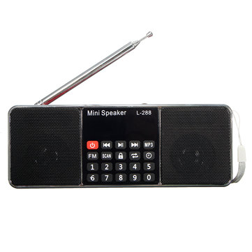 L-288 Mini Portable LCD FM Radio Stereo MP3 Music Player Micro SD TF USB AUX Outdoor Speaker
