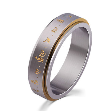 Men's Rotatable Ring Titanium Steel Buddhist Gold Tone Mantra Pattern Spinner Lucky Ring