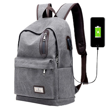 Men Fashion Backpack Canvas Casual Light Weight Mochila with External USB Charging Port