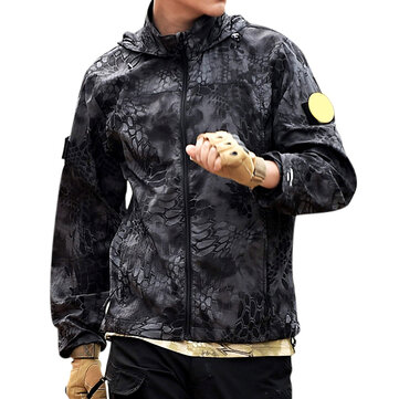 Mens Outdoor Camouflage Ultra Thin Nylon Hooded Anti-UV Waterproof Skin Coat