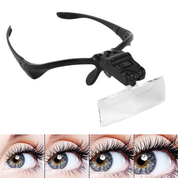 LED Light Magnifier Glasses for Eyelash Extension Grafting Reading Repair Tool 1X 1.5X 2X 2.5X 3.5X