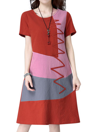 M-5XL Contrast Color Patchwork Dress