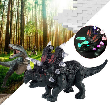 Electric Walking Simulation Dinosaur Triceratops Toys Figure For Kids Children Christams Gift