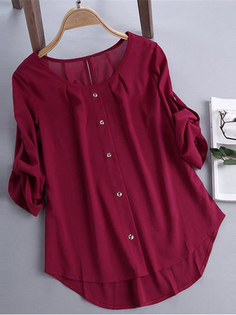 Plus Size Elegant Crew Neck Adjustable Sleeve Chiffon Blouse