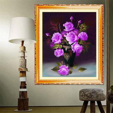 40x46 centimetri fai da te a punto croce kit di ricamo tre colori casa decorazione floreale rosa