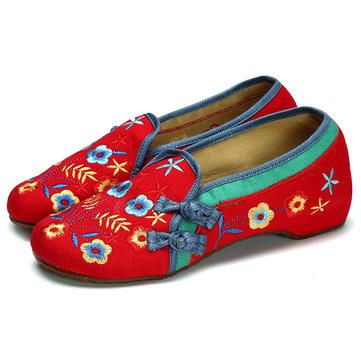 Женская обувь Вышивка Цветочные скольжения на мягких случайные плоские бездельников