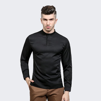 Men's Simple Solid ColorTwo Button Placket Casual Business Stand Collar Long-sleeved T-Shirts