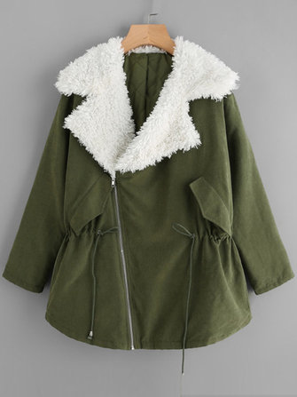 Army Green Women Long Sleeve Zipper Lapel Thick Winter Coat