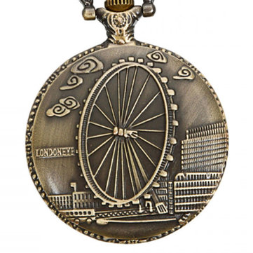 DEFFRUN Vintage London Eye Pattern Antique Bronze Quartz Pocket Watch