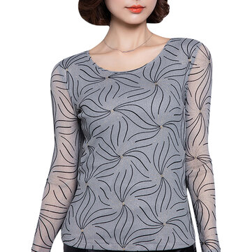 Women Slim Perspective Gauze Long Sleeve Lace T-Shirt