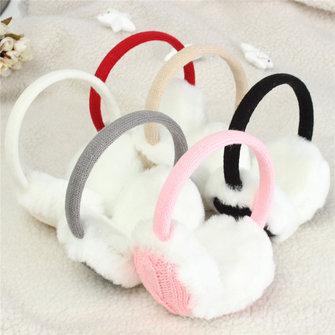 Women Girl Knitted Earmuffs Ear Warmer Fluffy Earlap Warmer Headbrand Gift