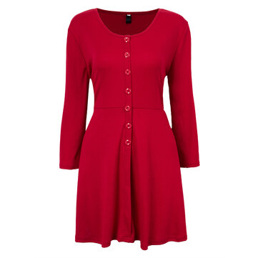 Slim Casual V Neck Button Pleated A-Line Mini Skater Dress For Women