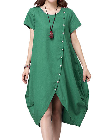 Casual Button Pleats Asymmetrical Hem Women Linen Dress
