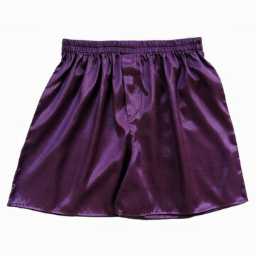 INCERUN Casual Mens Faux Silk Boxer Shorts Sleepwear