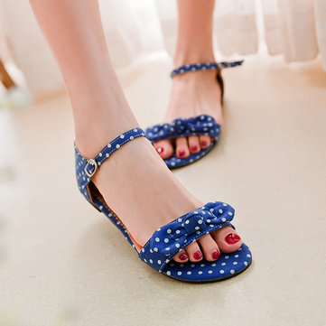 Large Size Ladies Ball Dot Butterfly Knot Sandals Buckle Peep Toe Flat Sandals