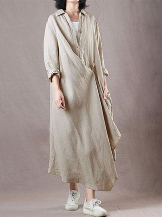 Women Casual Long Sleeve Buttons Irregular Long Shirt Maxi Dress