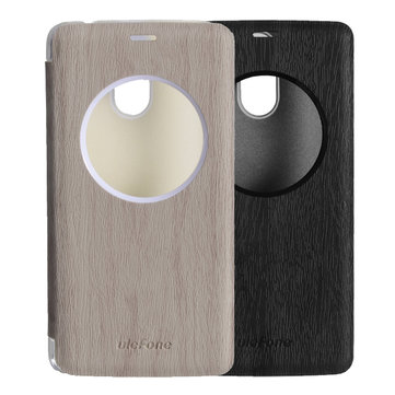 Original Flip View Window Wood Leather Case Cover For Ulefone Vienna